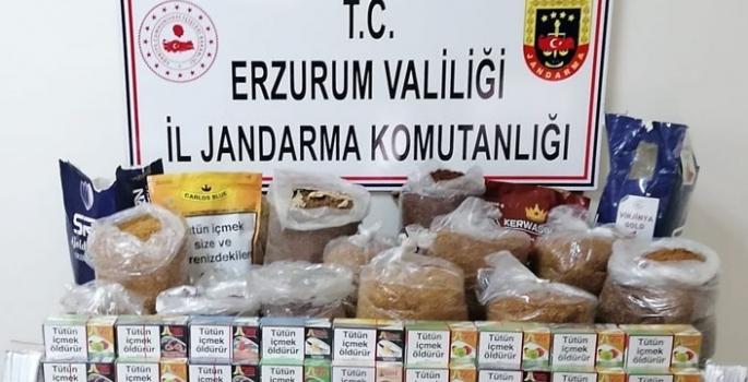 Erzurum'da kaçak tütün ve  sigara operasyonu