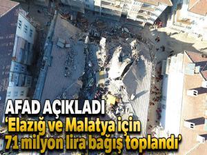 AFAD: 'Elazığ ve Malatya için 71 milyon lira bağış toplandı'