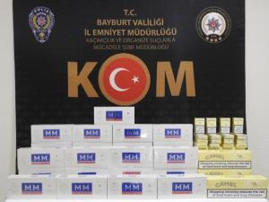 Bayburt'ta 316 paket gümrük kaçağı sigara ele geçirildi