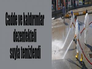 Cadde ve kaldırımlar dezenfekteli suyla temizlendi