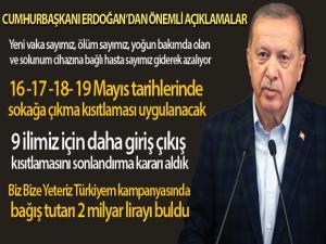 Cumhurbaşkanı Erdoğan: '16 -17 -18- 19 Mayıs tarihlerinde sokağa çıkma kısıtlaması uygulanacak'