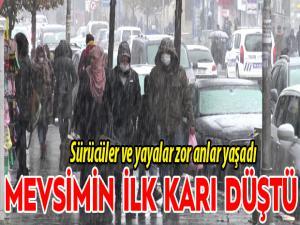 Erzurum'a mevsimin ilk karı düştü