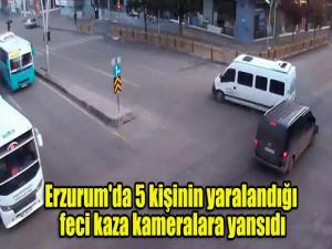 Erzurum'da 5 kişinin yaralandığı feci kaza kameralara yansıdı