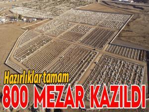 Erzurum'da mezarlıkta kış hazırlığı