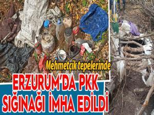 Erzurum'da PKK'ya ait sığınak imha edildi