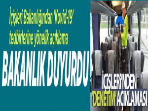 İçişleri Bakanlığından 'Kovid-19' tedbirlerine yönelik açıklama