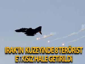Irak'ın kuzeyinde 8 PKK'lı terörist ani hava harekâtlarıyla etkisiz hale getirildi