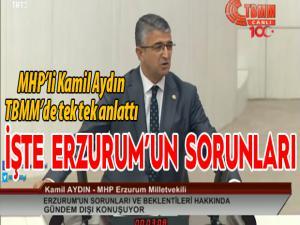 Kamil Aydın Erzurum'un sorunlarını anlattı