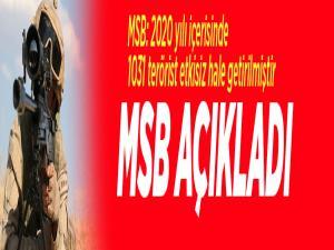 MSB: 2020 yılı içerisinde 1031 terörist etkisiz hale getirilmiştir