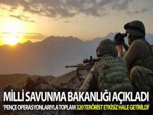 MSB: 'Irak kuzeyinde devam eden Pençe Operasyonları ile toplam 320 PKK'lı teröristi etkisiz hale getirdi'