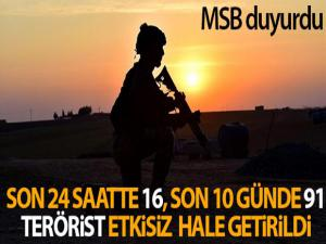 MSB: 'Son 24 saatte 16 terörist etkisiz hale getirildi'