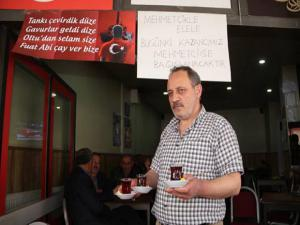 Oltulu Çaycı bir günlük kazancını şehit ailelerine bağışladı