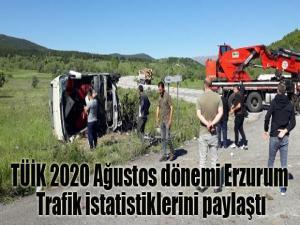 TÜİK 2020 Ağustos dönemi Erzurum Trafik istatistiklerini paylaştı