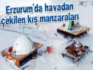 Erzurum'da havadan çekilen kış manzaraları