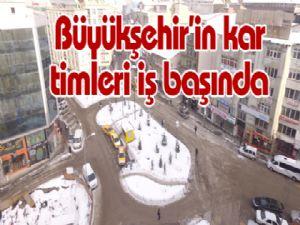 Erzurum'da karla mücadele çalışmaları