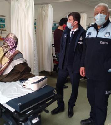 Hasta kadını hastaneye zabıta yetiştirdi
