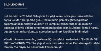 BB Erzurumspor'dan İsmail Kartal'ın istifası hakkında açıklama