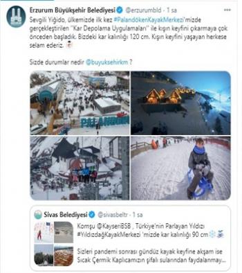 Belediyelerden sosyal medyada kar manzaralı paylaşım