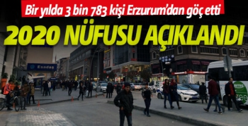 Erzurum 2020 nüfusu açıklandı