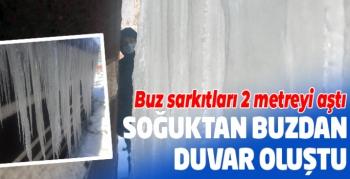 Erzurum'da soğuktan buzdan duvar oluştu