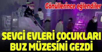 Erzurum Sevgi Evleri'nde kalan çocuklar buz müzesini gezdi