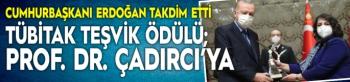 TÜBİTAK teşvik ödülü; Prof. Dr. Çadırcı'ya