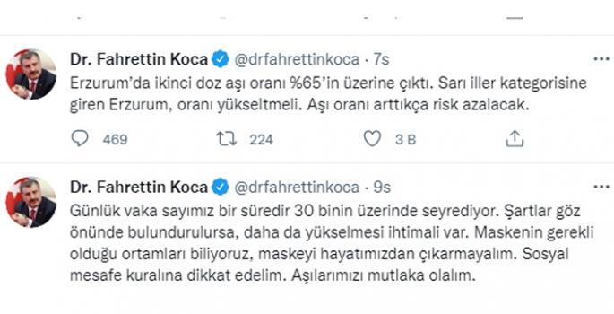 Koca: Erzurum'da ikinci doz aşı oranı %65'in üzerine çıktı